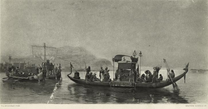 Procession funéraire sur le Nil.